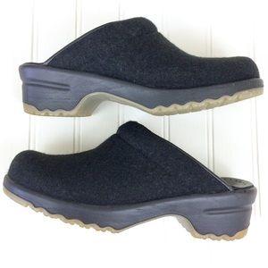 Sanita black wool textile open back mules clogs